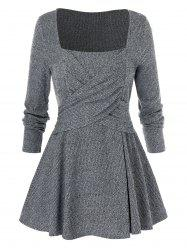 Plus Size Long Sleeve Square Neck Solid Sweater -