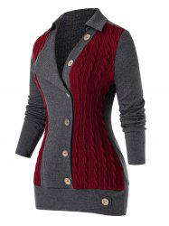 Plus Size Buttoned Colorblock Cable Knit Sweater -