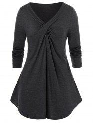 Long Sleeve Twist-front Plus Size Tunic Top -