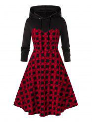 Plus Size Plaid A Line Hoodie Dress -