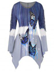 Plus Size Asymmetrical Butterfly Print Guipure Lace Panel Tee -