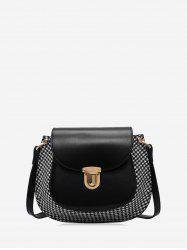 Houndstooth Panel Flap Saddle Bag -