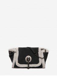 Faux Fur Trim Flap Sling Bag -