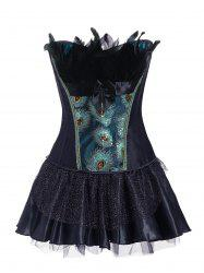 Feathers Bowknot Peacock Corset Set -