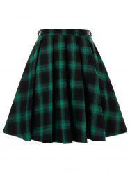 Plus Size Plaid Grommet Buckle A Line Skirt -