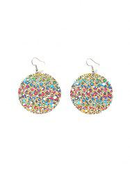 Hollow Out Color Painted Round Drop Earrings -