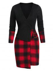 Asymmetric Plaid Print O-ring Surplice Sheath Dress -