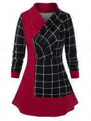 Plus Size Plaid Wrap Collar Jointed Zipper Top -