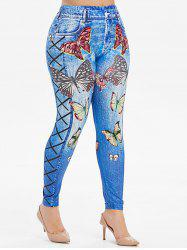 High Waisted Sparkle Butterfly 3D Print Plus Size Jeggings -