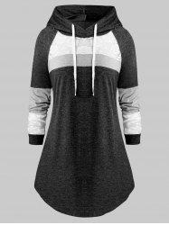 Plus Size Lace Panel Hooded Color-blocking Curved Tunic Tee -