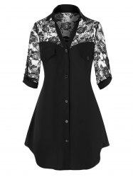 Plus Size Sheer Lace Roll Up Sleeve Shirt -