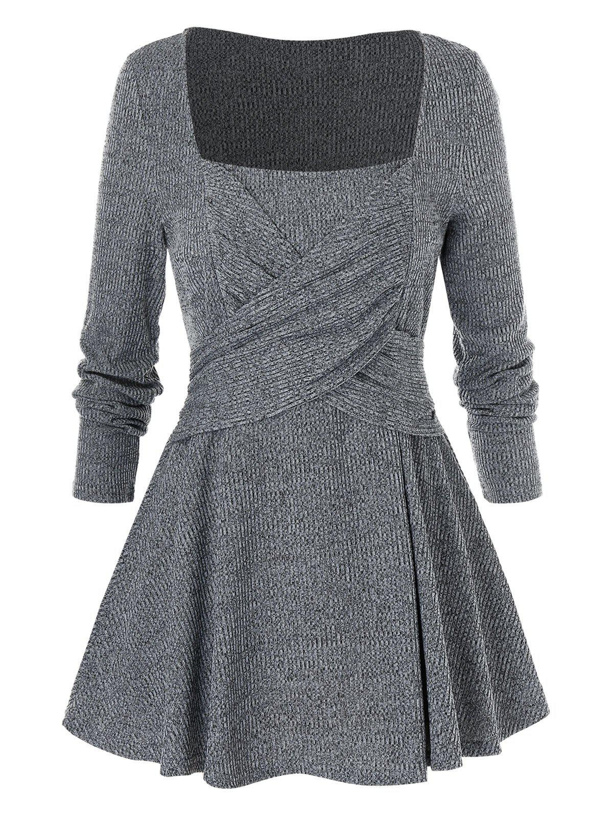 Latest Plus Size Long Sleeve Square Neck Solid Sweater