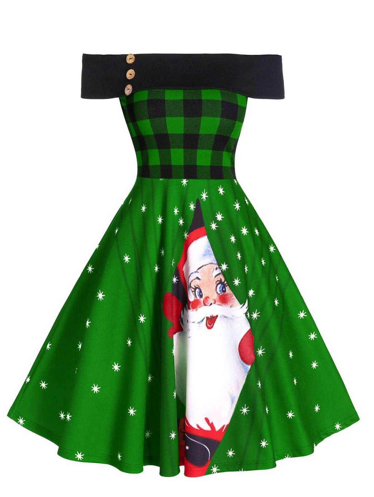 Affordable Off The Shoulder Plaid Santa Claus Print Christmas Dress