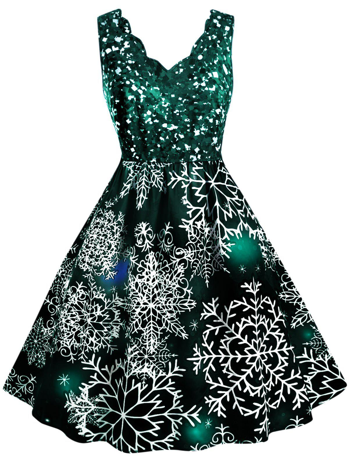Outfits Scalloped Collar Snowflake Print Christmas Plus Size Dress