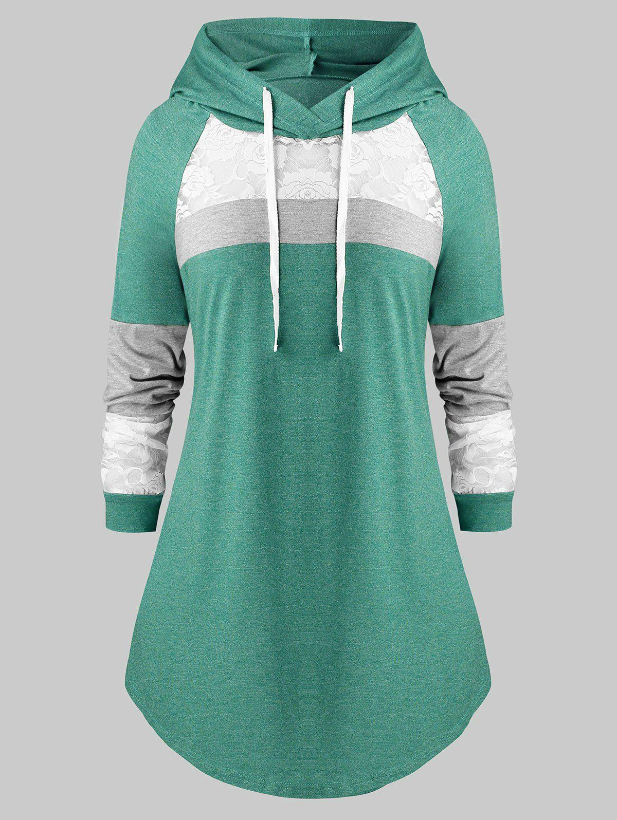 Best Plus Size Lace Panel Hooded Color-blocking Curved Tunic Tee