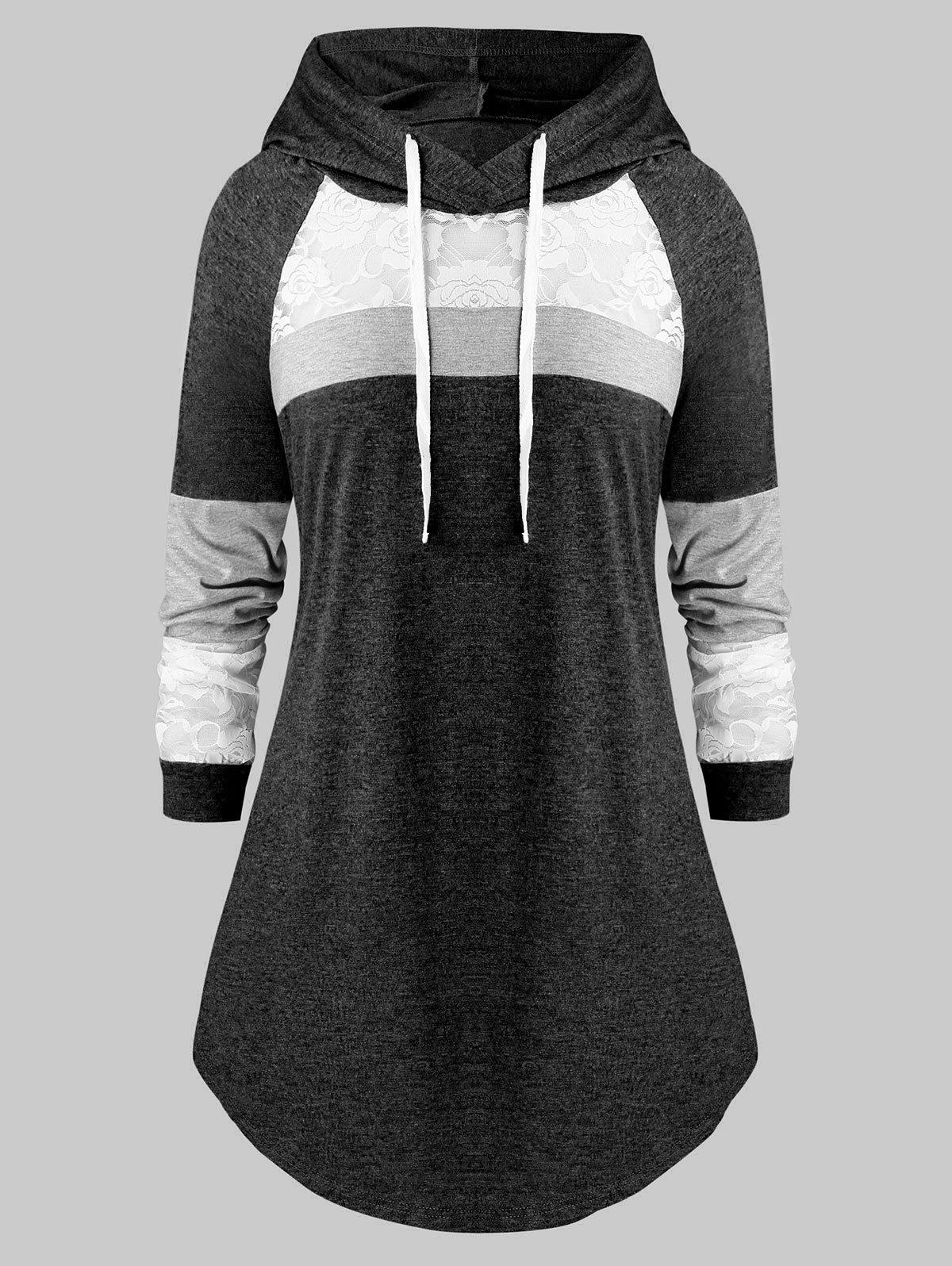 Outfit Plus Size Lace Panel Hooded Color-blocking Curved Tunic Tee