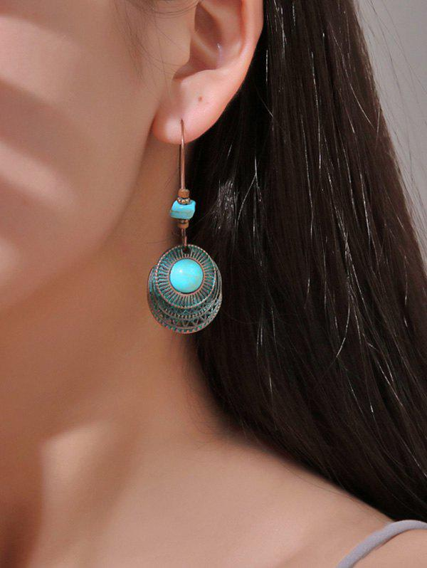 Online Faux Turquoise Hollow Out Round Drop Earrings
