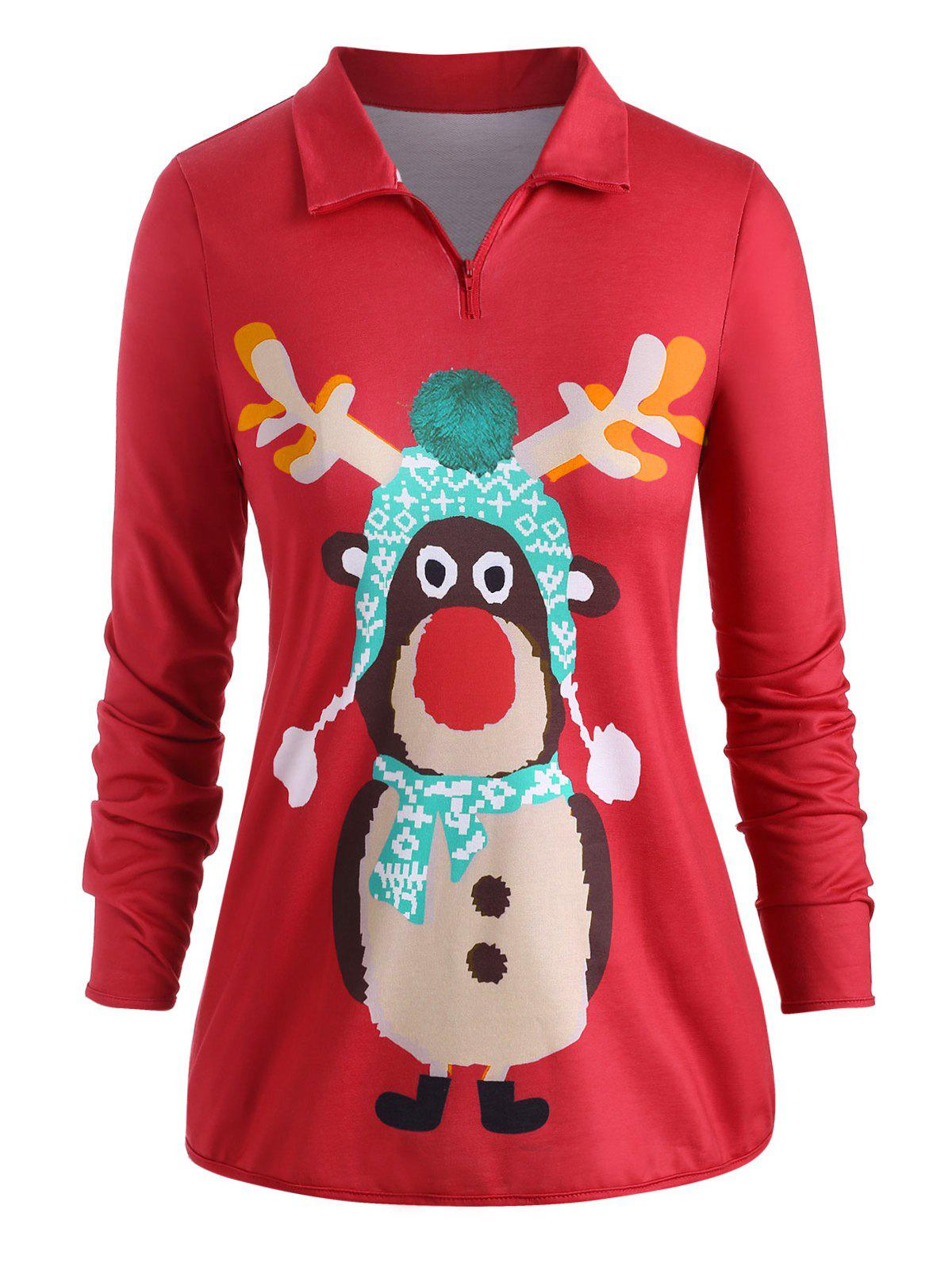 Poches quart Zip Cartoon Elk Noël Taille Plus Sweat