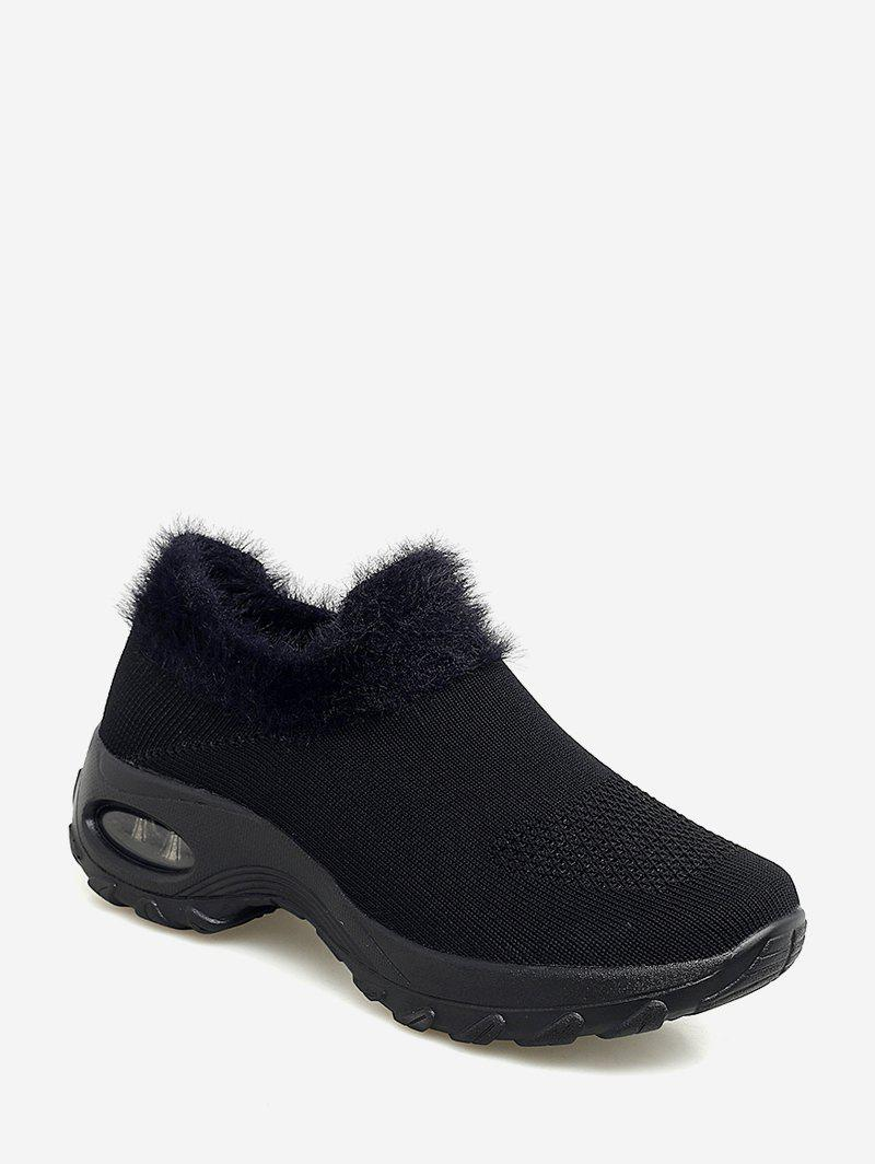 Fuzzy Trim Knitted Slip On Casual Walking Shoes Fuzzy Trim Knitted Slip On Casual Walking Shoes