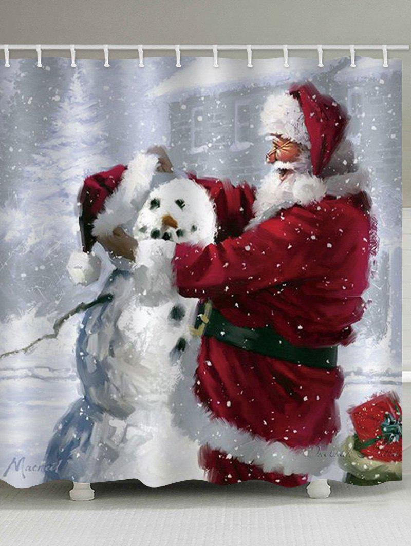 Chic Father Christmas Snowman Waterproof Shower Curtain