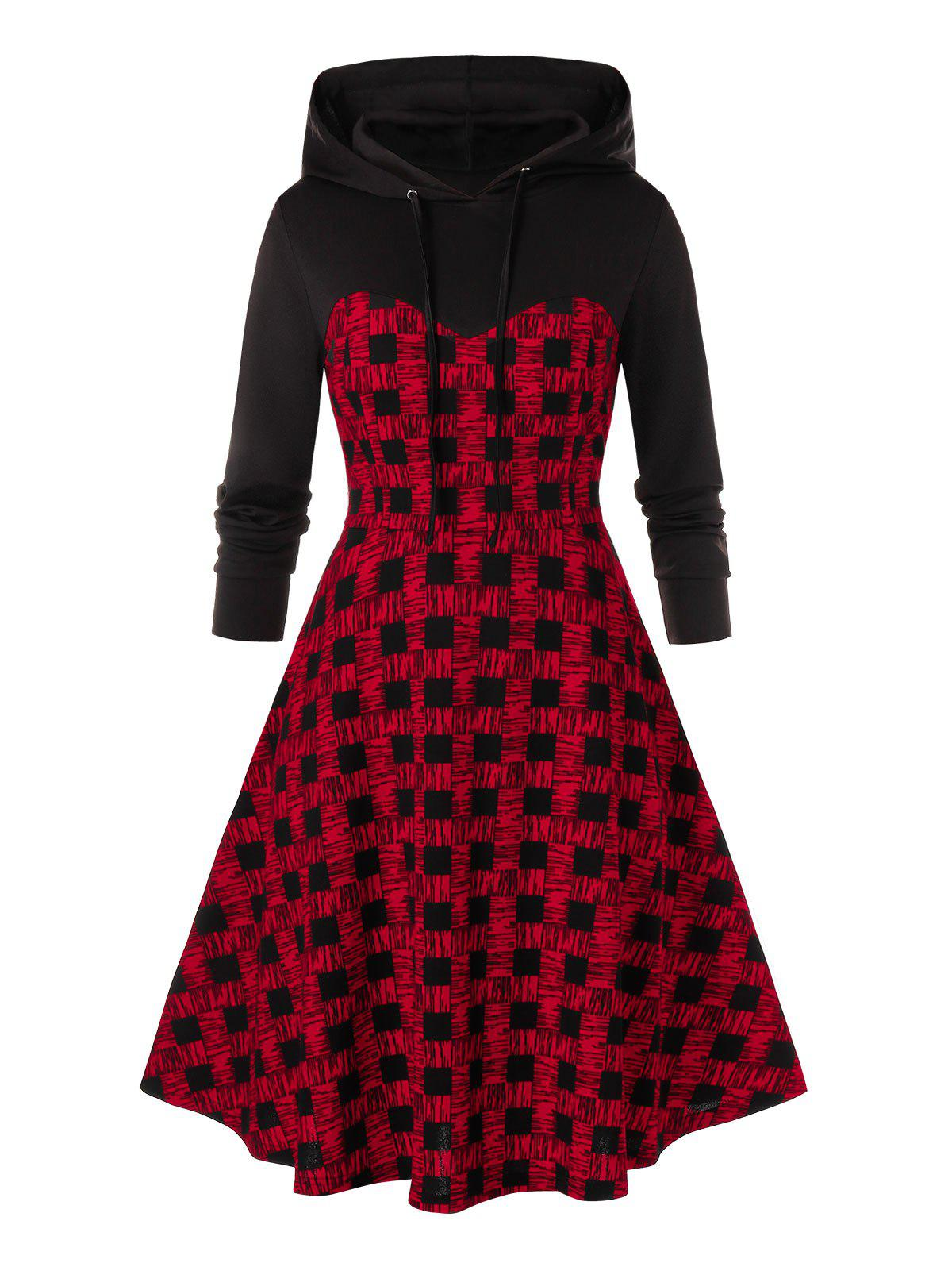 Chic Plus Size Plaid A Line Hoodie Dress