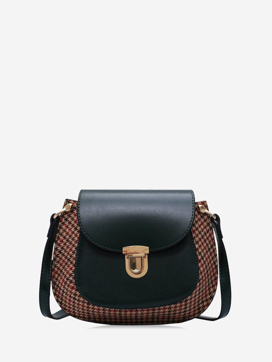 Chic Houndstooth Panel Flap Saddle Bag
