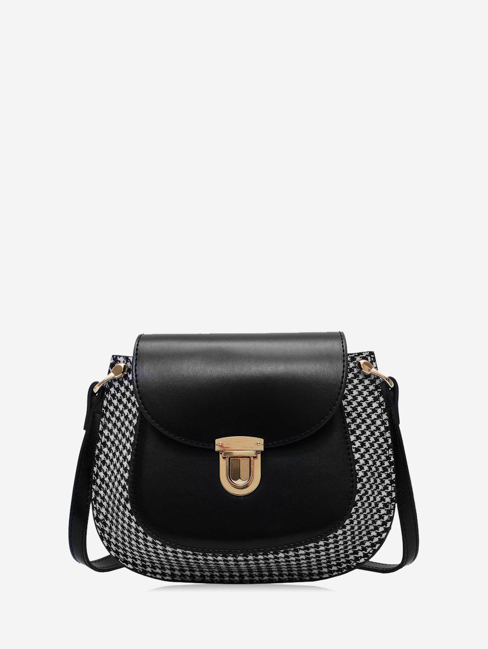 Trendy Houndstooth Panel Flap Saddle Bag