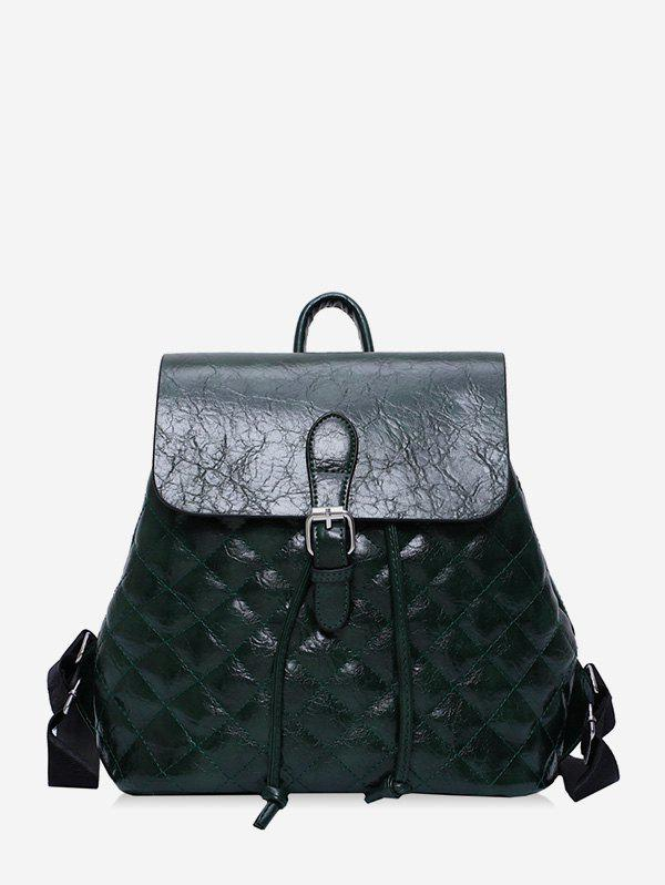 Fashion Quilted PU Leather Buckle Drawstring Backpack