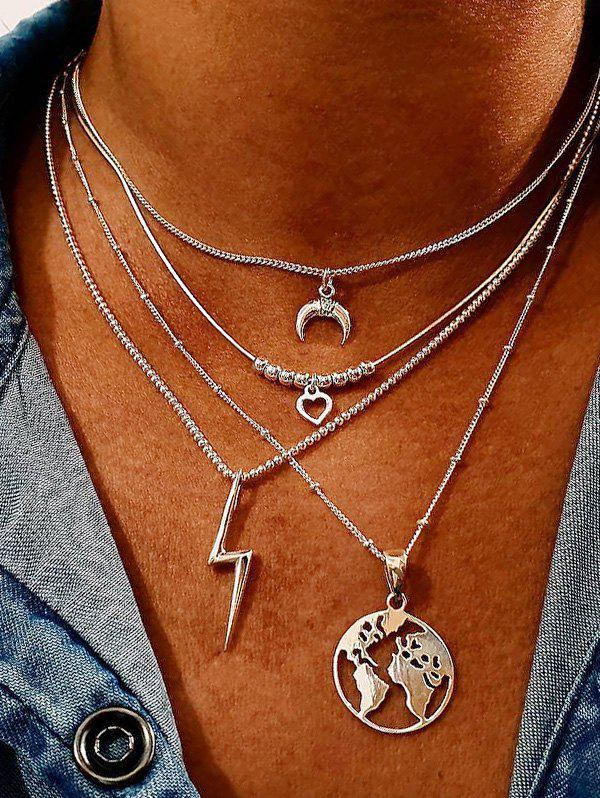 Latest Hollow Map Heart Lightening Layered Necklace