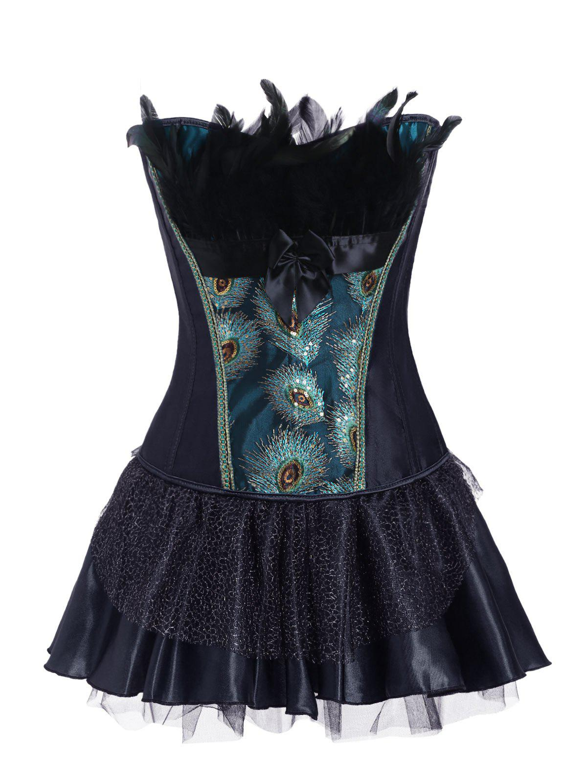 Shops Feathers Bowknot Peacock Corset Set