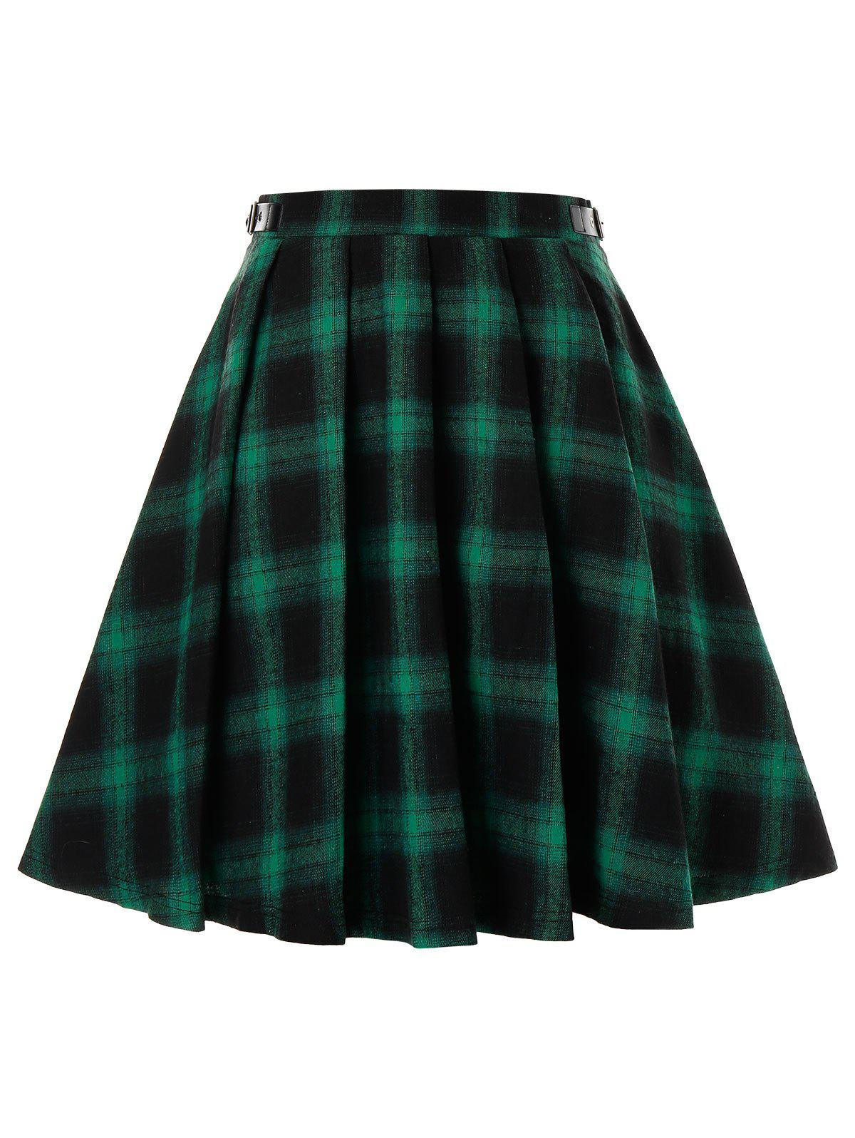 Shop Plus Size Plaid Grommet Buckle A Line Skirt