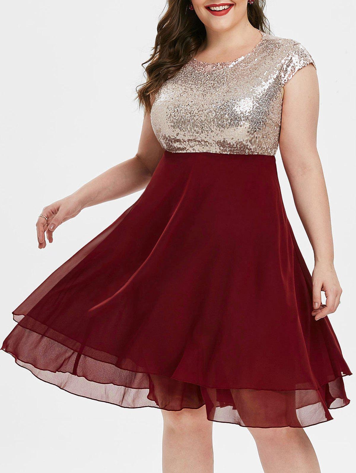 Fancy Cap Sleeve Chiffon Panel Sequined Plus Size Prom Dress