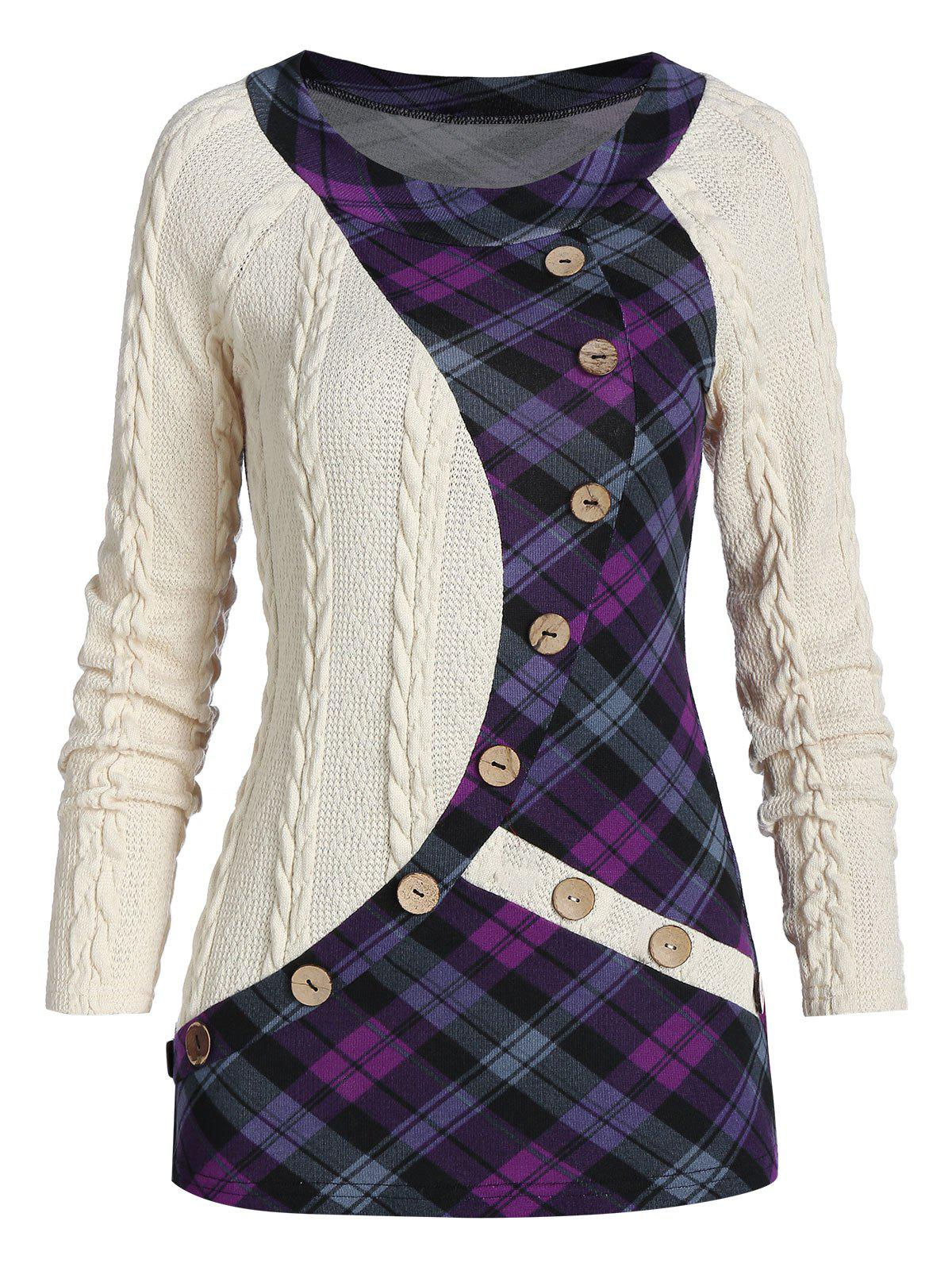 Outfit Mock Button Plaid Insert Cable Knit Sweater