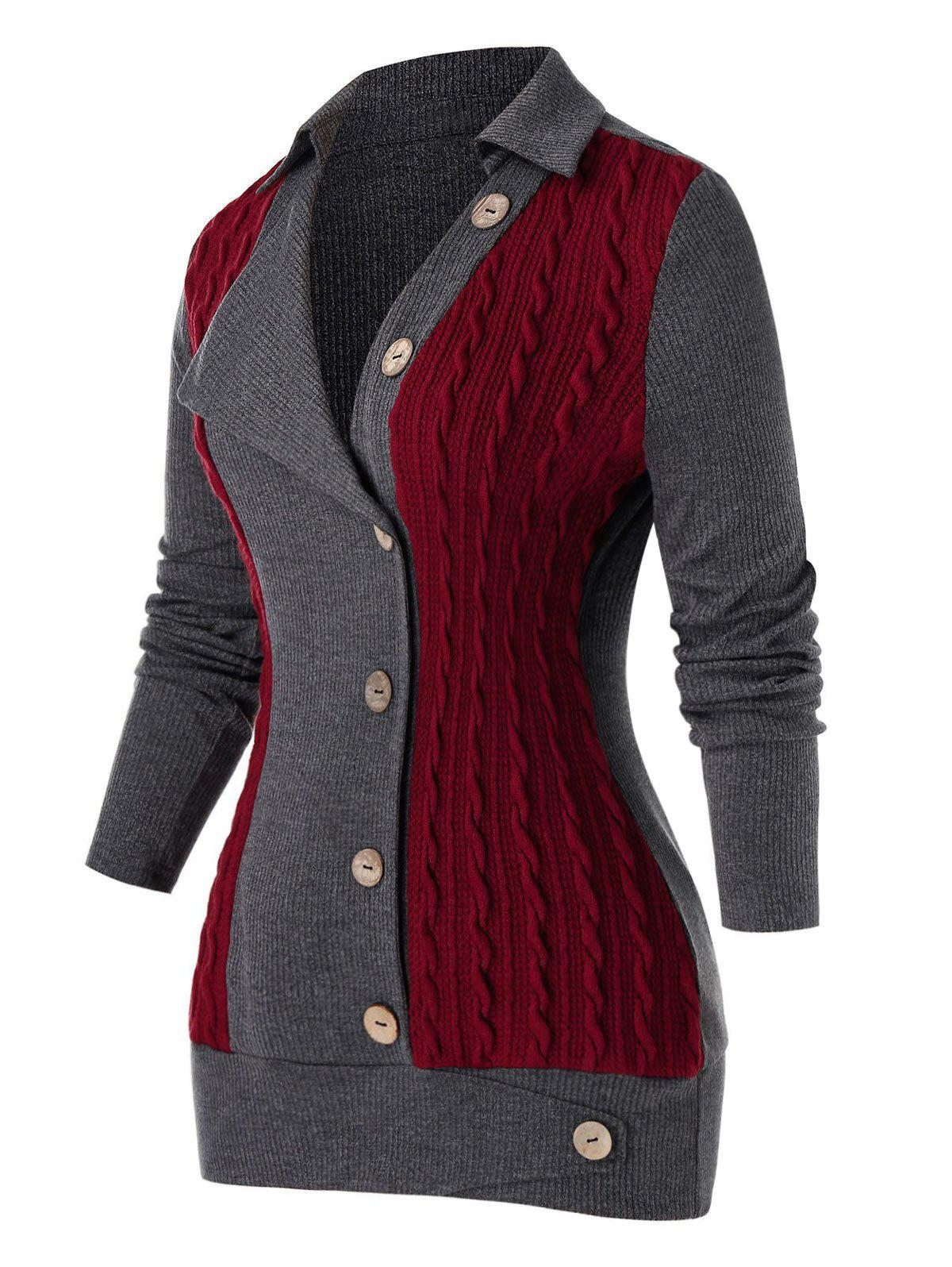 Chic Plus Size Buttoned Colorblock Cable Knit Sweater