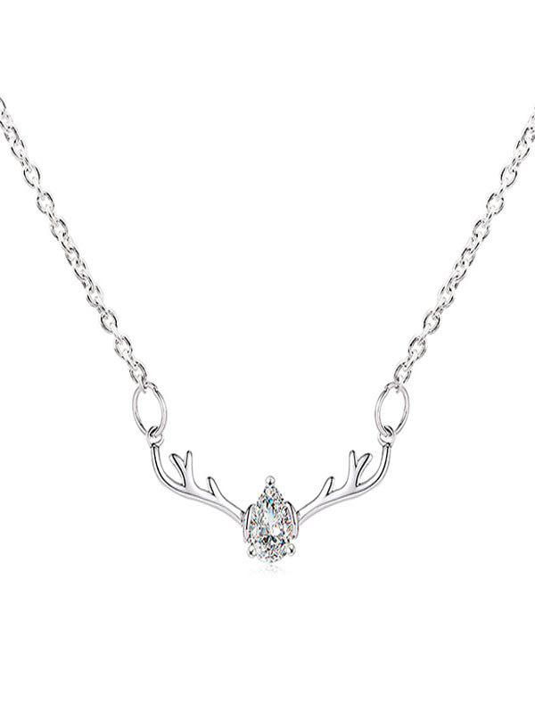 Store Rhinestone Waterdrop Elk Christmas Necklace