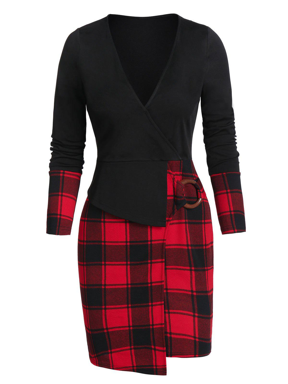 Trendy Asymmetric Plaid Print O-ring Surplice Sheath Dress