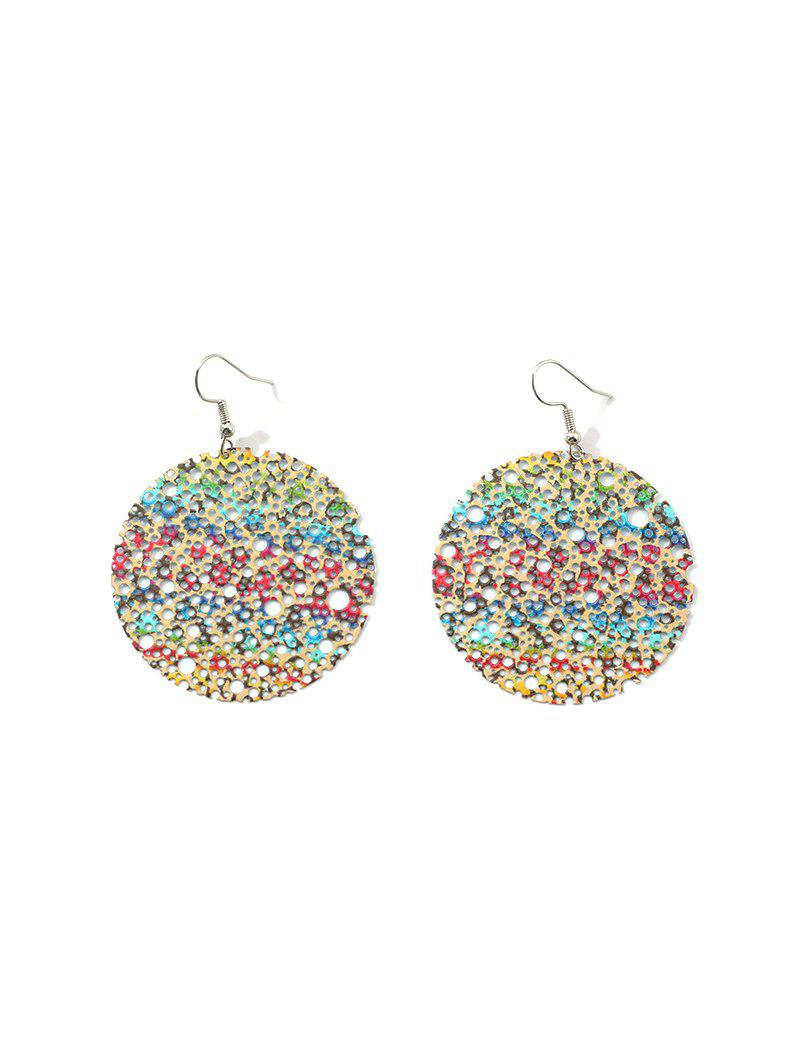 New Hollow Out Color Painted Round Drop Earrings