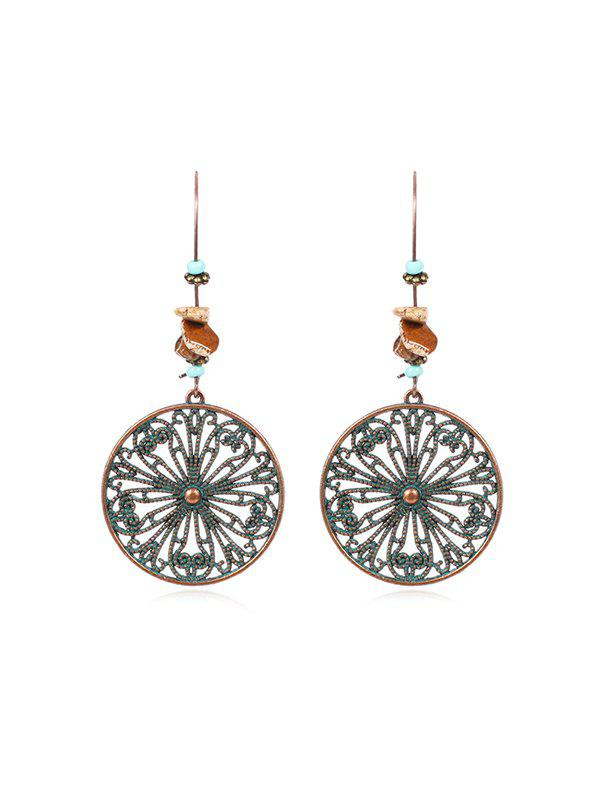 Outfit Hollow Out Round Flower Drop Earrings