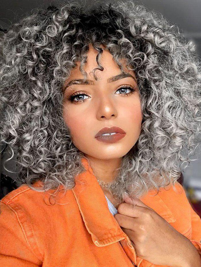 Cheap Ombre Afro Curl Synthetic Medium Wig
