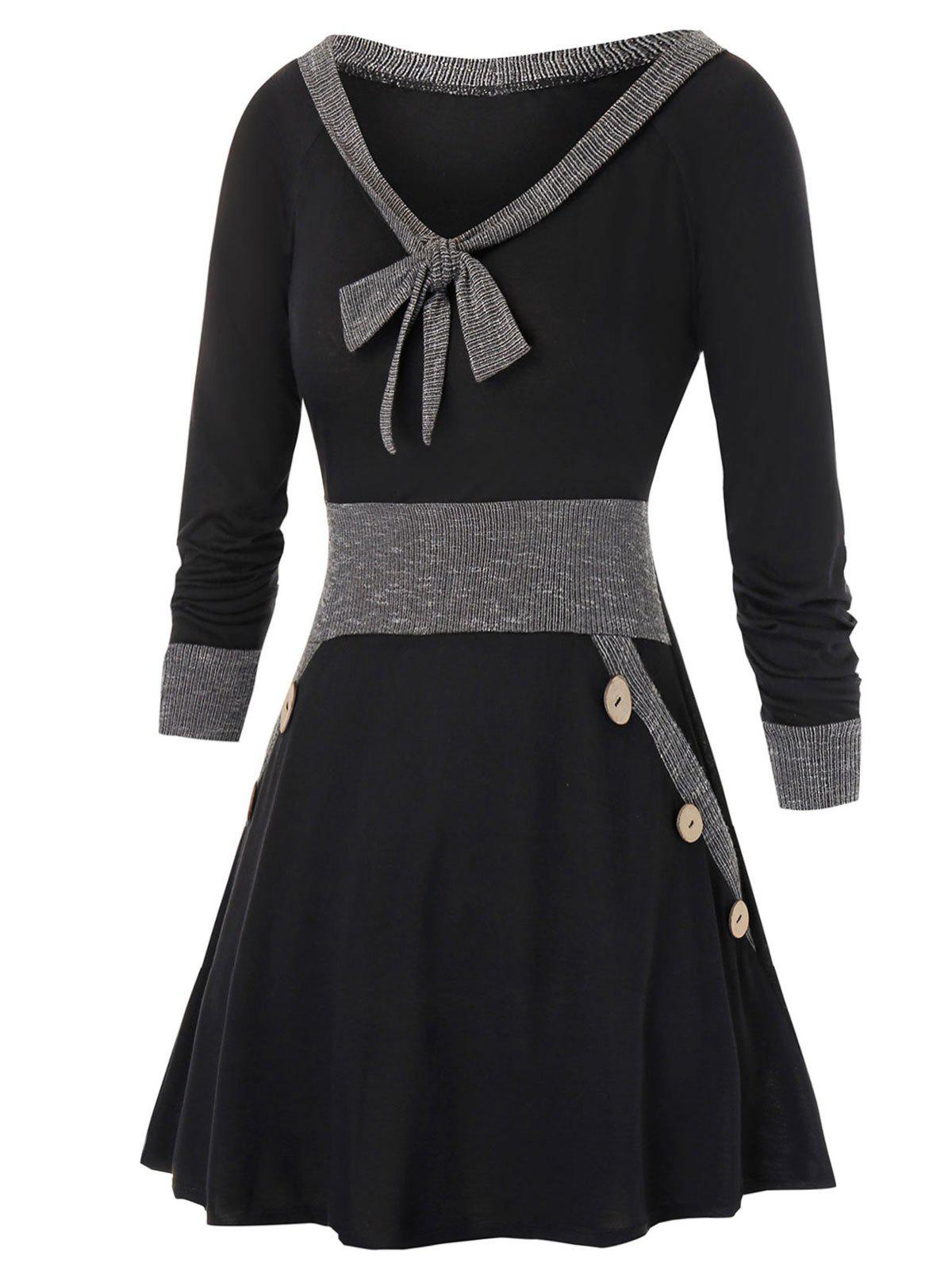Plus Size Fit And Flare Bowknot Collar Two Tone Dress фото