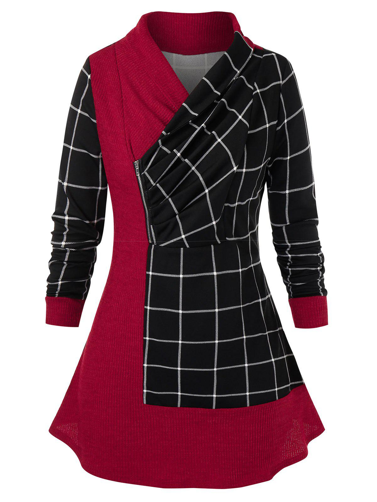 Best Plus Size Plaid Wrap Collar Jointed Zipper Top