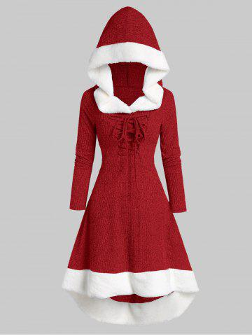 Plus Size Lace Up Faux Fur Hooded Marled Knit Asymmetric Dress