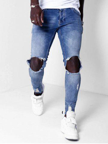 Destroyed Hole Zip Fly Casual Jeans
