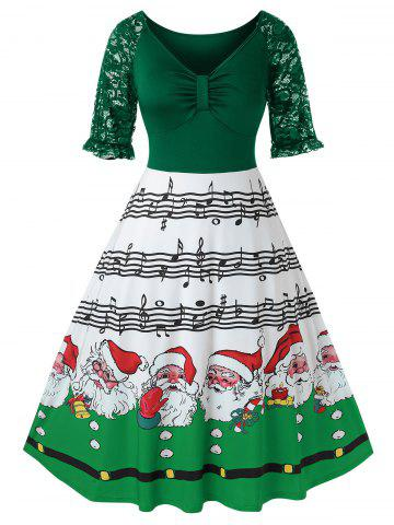Plus Size Christmas Printed High Wasit Plunge Dress