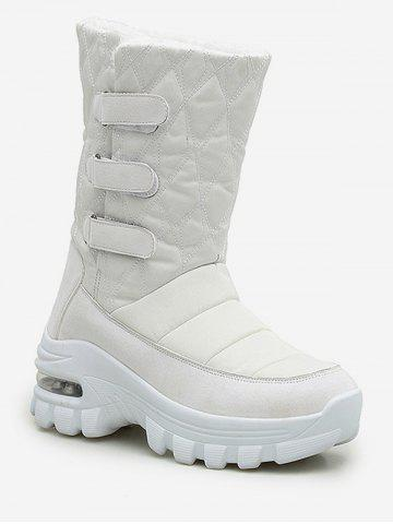Quilted Hook Loop Mid Calf Snow Boots