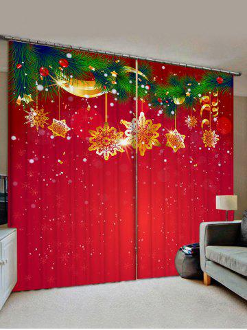 2 Panels Christmas Tree Branch Snowflake Print Window Curtains - RUBY RED - W30 X L65 INCH X 2PCS