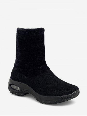 Fuzzy Panel Slip On Casual Platform Boots