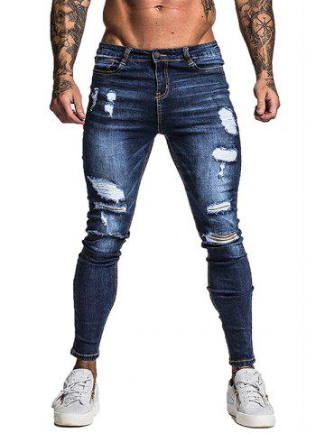 Ripped Destroyed Zip Fly Casual Jeans