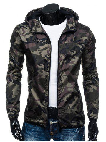 Camouflage Print Zip Up Hooded Windbreaker Jacket