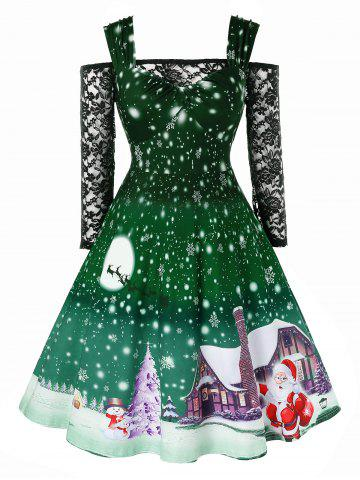 Plus Size Christmas Snowflake Print Vintage Dress with Off The Shoulder T Shirt